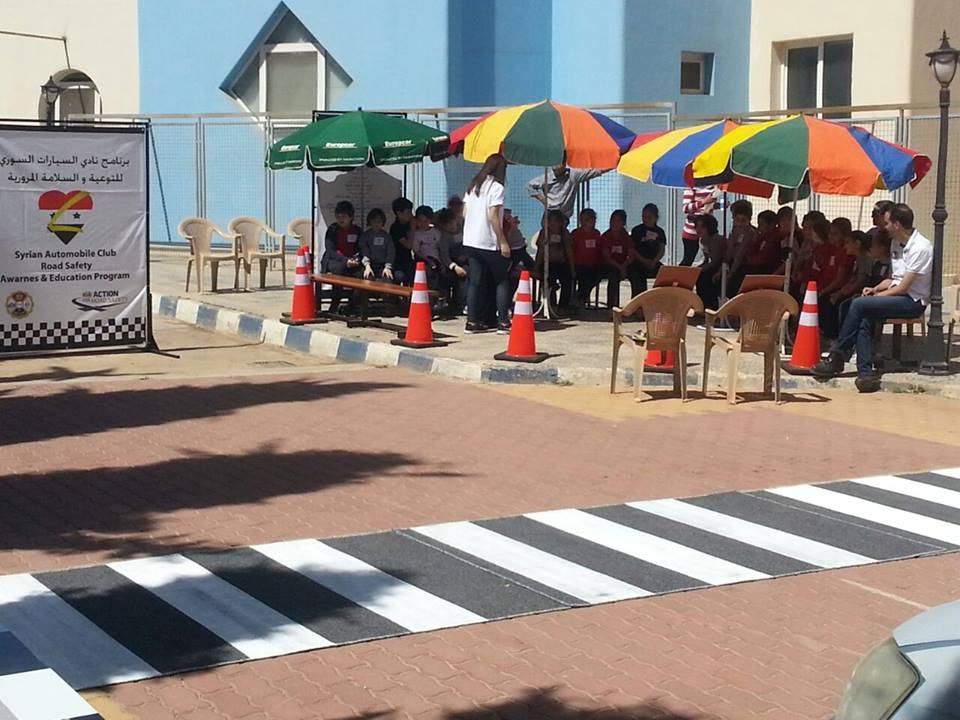 نادي السيارات السوري يبدا بحملة التوعية المرورية في المدرسة الوطنية بسورية