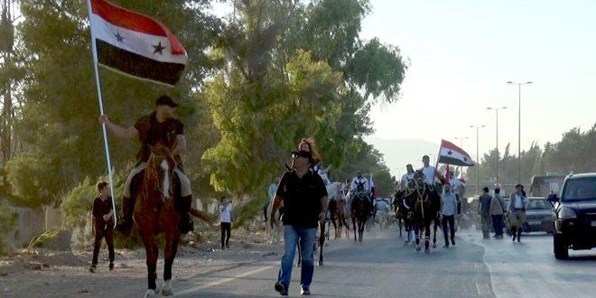 مسير للخيول العربية الأصيلة من جسر عقربا إلى مدينة المعارض
