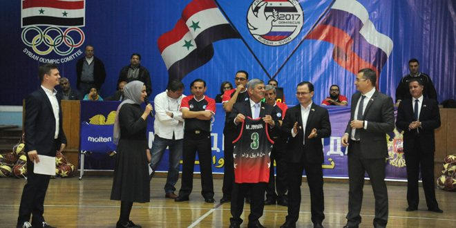 """مهرجان رياضي كرنفالي بعنوان """"روسيا.. سورية.. كرة السلة موحدة البلدان"""""""
