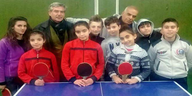 نادي جرمانا يحرز المركز الأول في بطولة ريف دمشق بكرة الطاولة للواعدين والواعدات