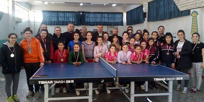 اختتام بطولة كرة الطاولة المدرسية للإناث بحماة
