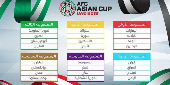 إصدار جدول مباريات كأس آسيا بكرة القدم 2019